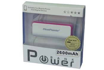 Power Bank 011, 2600mAh BÍLO-RŮŽOVÁ, LED svítilna, LED ukazatel nabití
