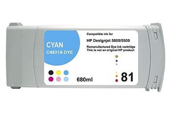 Printwell DESIGNJET 5500 kompatibilní kazeta pro HP - azurová, 680 ml